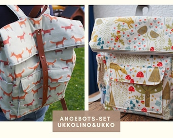 Set Backpack Ukko and childrens bagpack pattern in german, pdf download, kindergarten bag, kidsbag, diaperbagpack, sewing for mums