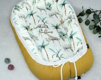 PinkClouds • Babynestchen • Nestchen • SAFARI • Waffel senf • Elefanten • Nest • Babybett • Cocoon • auch XL und für Zwillinge
