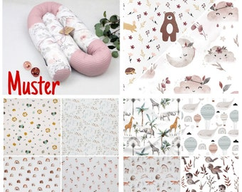 Bed snake from 60 - 300 cm length Motif selectable in many colors also with name Head protection Changing table Extra bed Cradle Baby cot