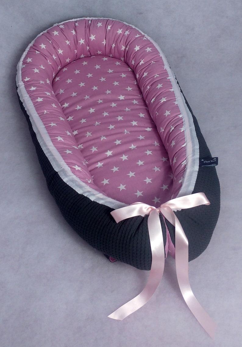 Polini Kids Babynestchen Kokon Babynest Baby Nest Nestchen Zickzack rosa
