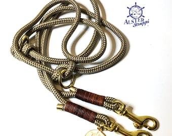 brand AlsterStruppi 200 cm adjustable Dog leash adjustable  tauleine golddbeige approx high quality from 44 Euro