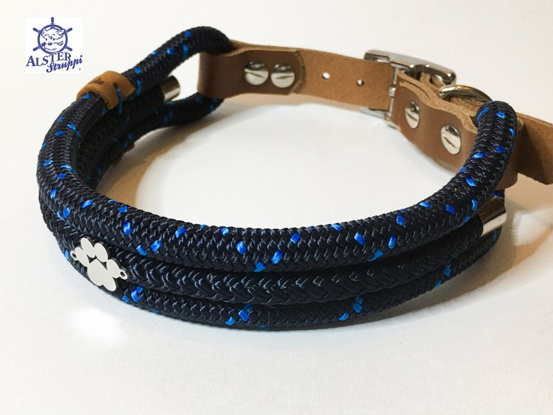 dark blue medium blue Collar tauhalsband for dogs different sizes on request very classy adjustable tau with leather