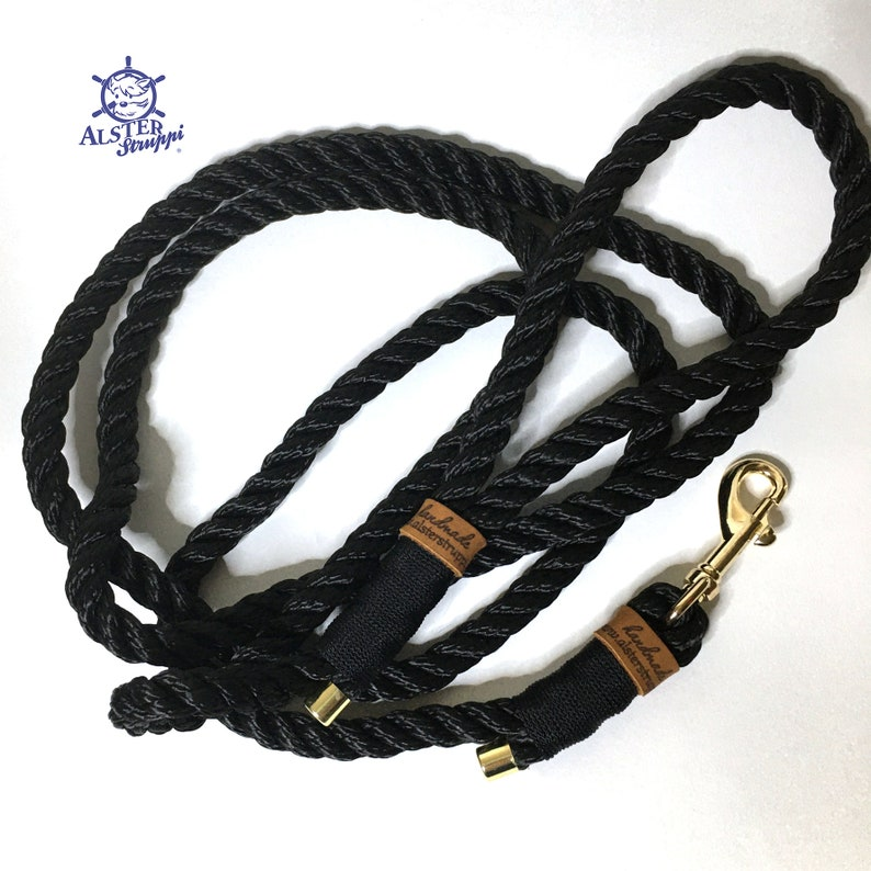 Noble dog leash adjustable  tauline black gold with hand strap approx stable and high quality dew thickness 6 mm brand AlsterStruppi 150 cm