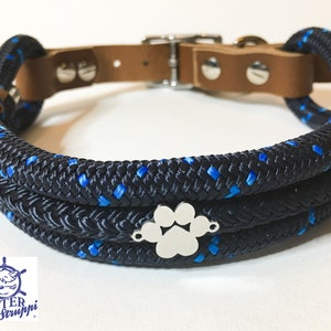 Collar tauhalsband for dogs different sizes braided from 58,- Euro very classy matching linen adjustable dew with leather