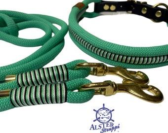 Leine Halsband Set, mintgrün, schwarz, weiß, edel und hochwertig, Messing auf Wunsch auch Edelstahl, ab 128,00 Euro, verstellbar