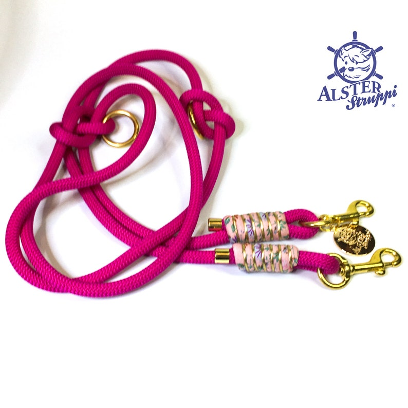 with flower pattern. Leash choker set pink pink gold with leather and buckle