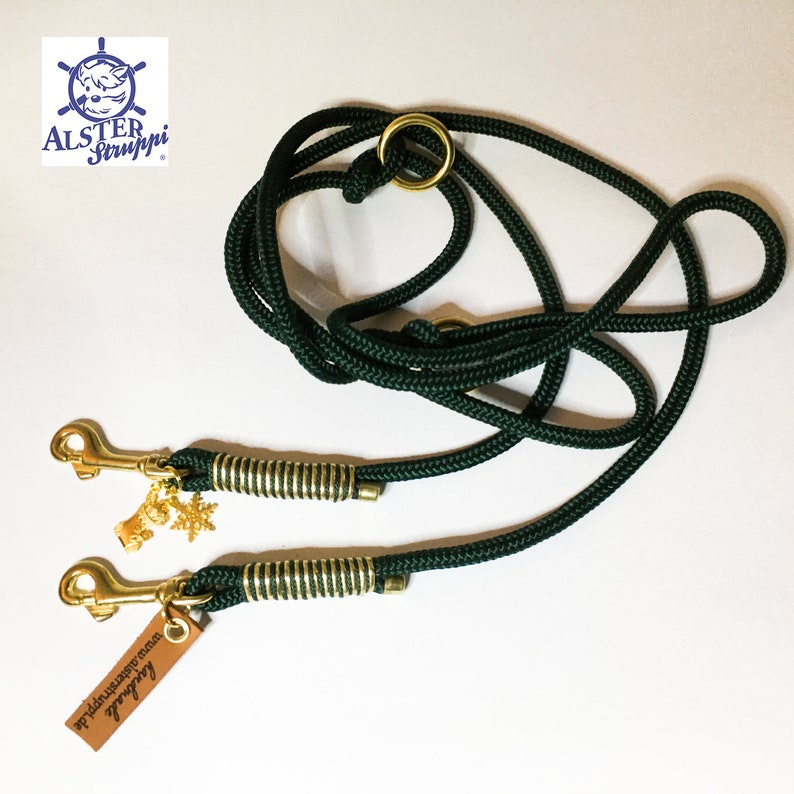 Dog leash adjustable  Tauleine green gold very noble and high quality brand AlsterStruppi Euro from 44,