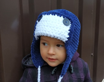 2f4f67ff3e3 Aviator hat baby newborn toddler kid ear flap navy blue winter pilot  airplane outfit for boy