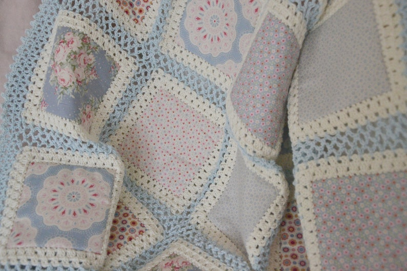 Romantic crocheted Patchwork Blanket image 0