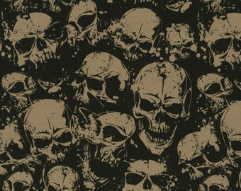 15.98Euro/meter skull jersey black fabric skulls by Swafing Theo cotton jersey