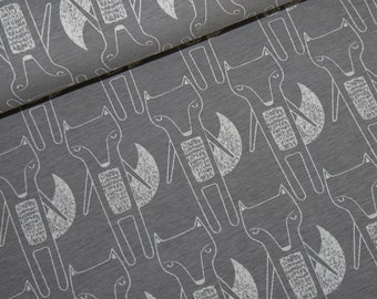 15.98Euro/meter fox jersey brown beige grey mottled cotton jersey fabric foxes Benno by Swafing Melange