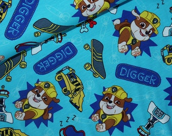 18,50Euro/Meter Jersey Paw Patrol Rubble Skateboard light blue turquoise Dogs License REST Fabric Rescue Dogs