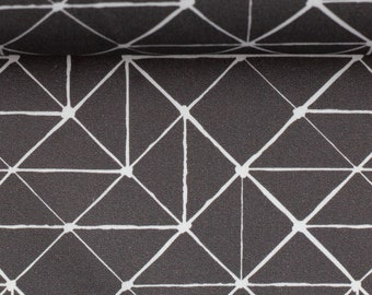 15.98Euro/meter lines jersey anthracite dark grey white geometric pattern fabric by Swafing Theo Lines irregular grey
