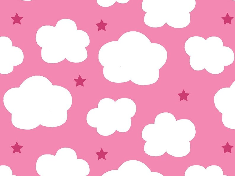 7ac7dff1b66 13.98Meter Jersey Clouds Star Pink White Kids REST Fabric | Etsy