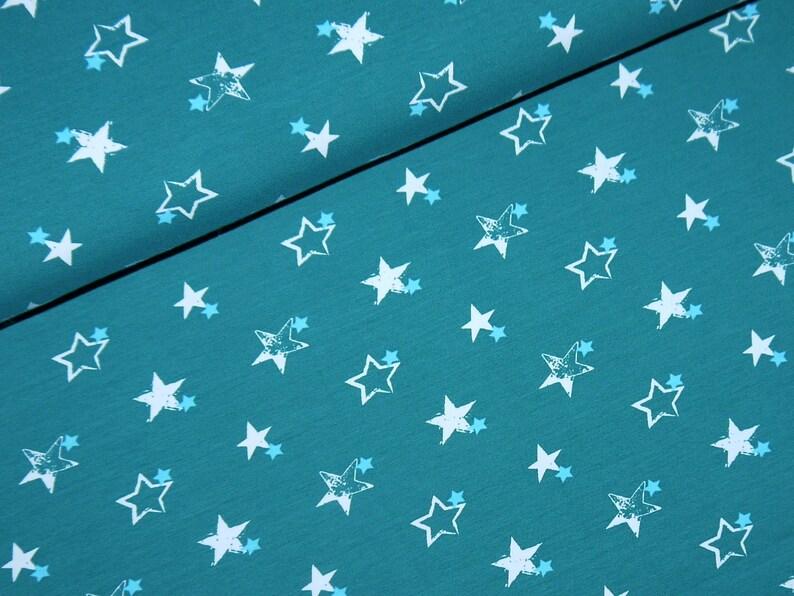 9217700f924 1398Euro/meter jersey star green white light blue fabric Star | Etsy