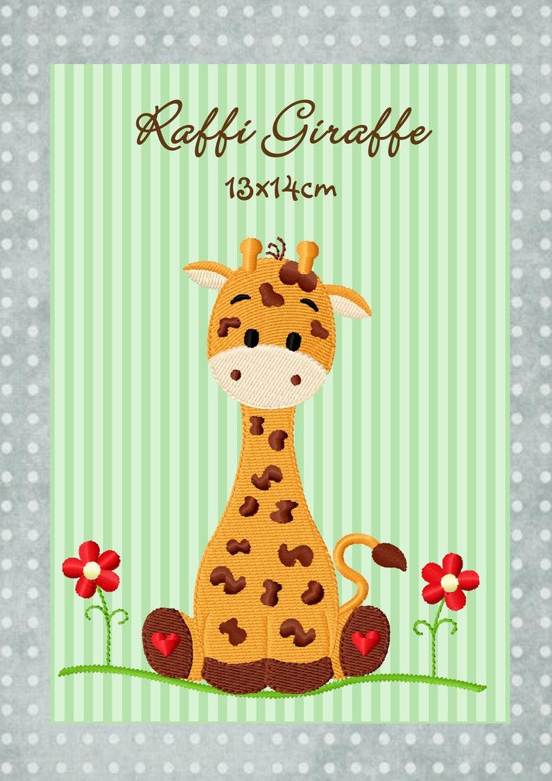 digitale DateiStickdatei Raffi Giraffe 13x14cm image 0