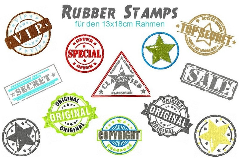 Stickdatei digitale Datei Rubber Stamps 13x18 cm Rahmen image 0