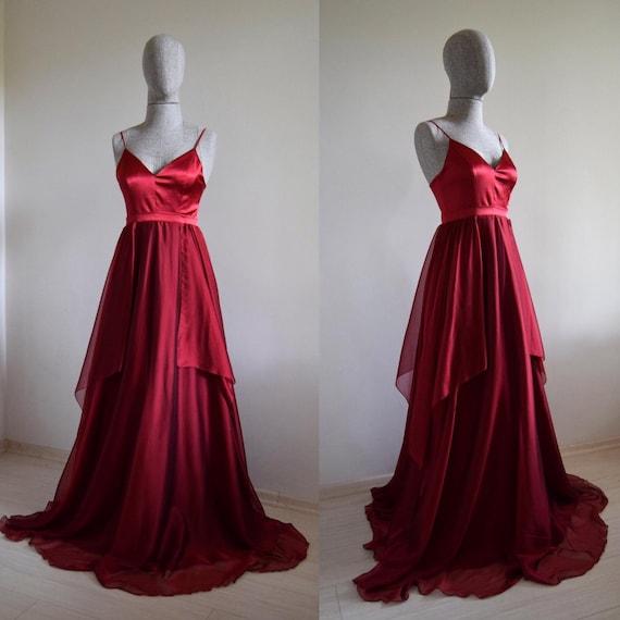 Crimson Red Silk Chiffon Maxi Bridesmaid Dress Prom Dress Custom Made To Measure Wedding Party Dress
