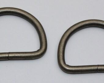 50 St D-Ringe 16mm x 12 x 2,6 Stahl Altmessing Halbrund Ring Halbrunde D Ringe