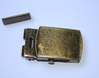 Gürtelschnalle 30 mm altmessing (EUR 2,30) mit Endstück Metallschließe messing antik
