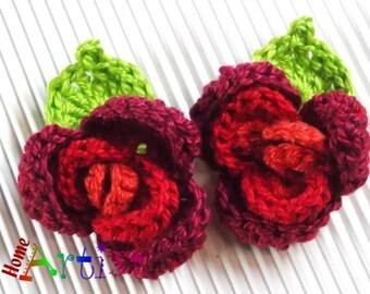 Häkelblume Blume Rose Geschenk Aufnäher Applikation Verzierung Etsy