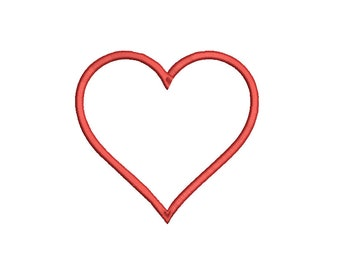 Heart Outline - Embroidery Design File - Instant Download - Available in 5 Sizes and 8 Machine Formats.