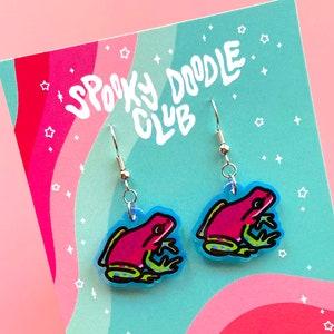 Spooky Doodle Club Acrylic Earrings 2 inch POSION DART FROG Earrings