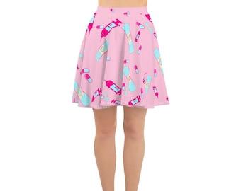 eed963cd620db Yami Kawaii Sick Medical Pastel Pink Skater Skirt XS - 3X Plus Size