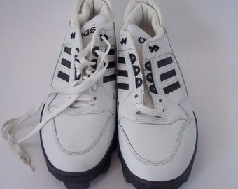 521badff4 Rare Vintage NWOT Adidas Soccer Cleats Shoes Size 12 White/Black Made in  USA 0918