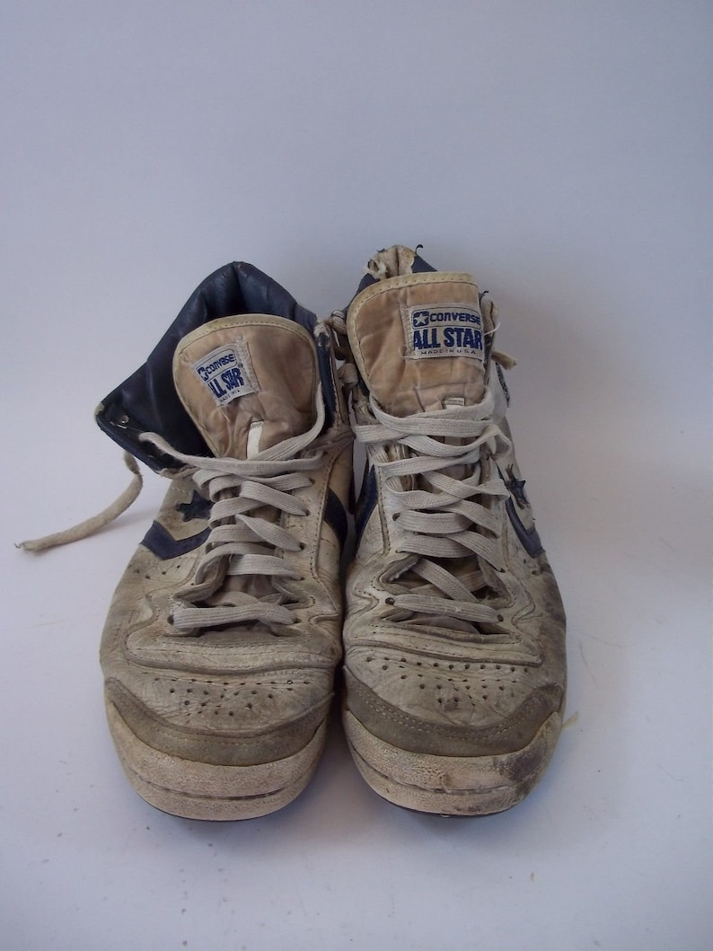 ede24d1168562 Rare Vintage 1980s Converse All Star MidTop Shoes Size 8 White/Blue MADE IN  USA 0918