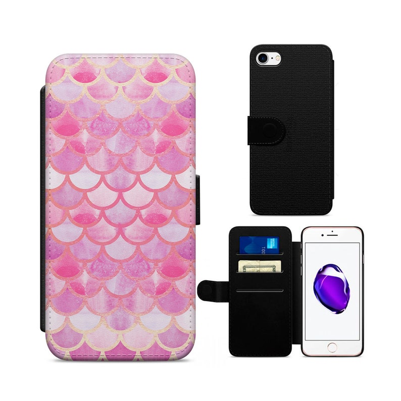 hot sales 70eac f0bac Rose Gold Fish scales Mermaid scales PU Leather Flip Wallet Phone Case  Cover For Apple iPhone 5/5s/se/6/6s/7/8 Samsung S7/S8/S9
