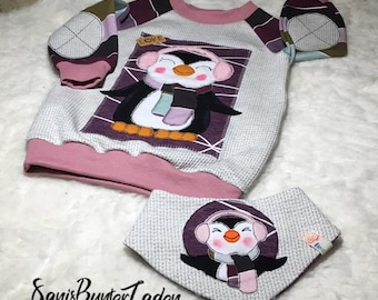 Raglanshirt size 80 with appliqué and matching reversible cloth