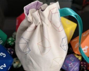 Dice pattern dice bag, dungeons and dragons, game bag, d20