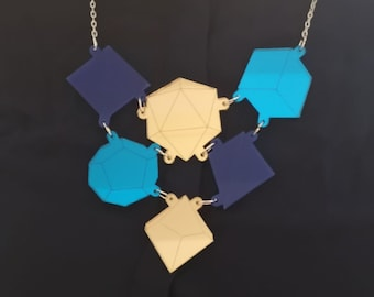 Acrylic blue and gold dice necklace, laser cut jewellery, statement jewellery, geek jewellery, gifts for geeks