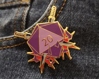 Rogue Hard Enamel Pin, Dungeons and Dragons, Dice, D20