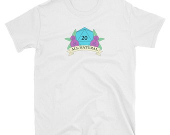 All Natural D20 Dungeons and Dragons T-shirt, D&D, Dice