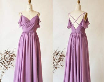 85bb79b3a91f Malva damigella d onore abito abito lungo Prom fredda spalla occasione  speciale sposa vestito da partito