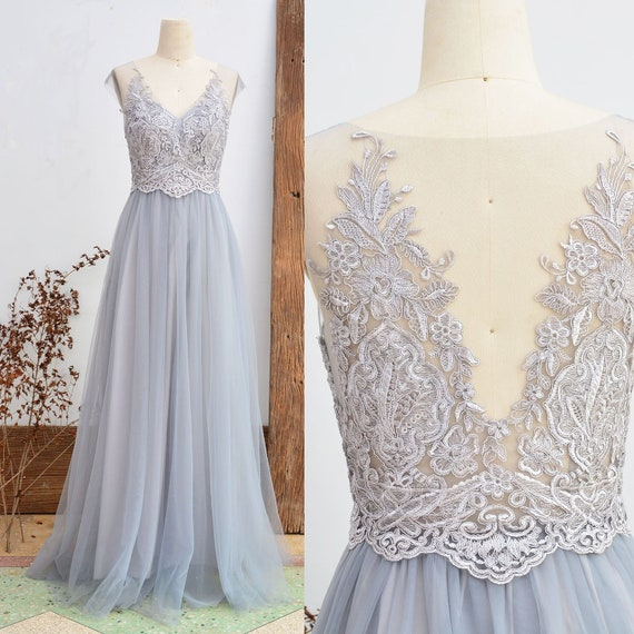 Lace Bridesmaid Dress Dusty Grey Wedding Party Dress Vintage Tulle Women Dress Long Prom Dress 2018 A Line ETSY Floor Length Mesh Dress