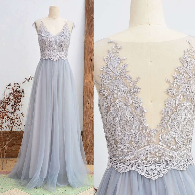9eaaa613c757 Lace Bridesmaid Dress Dusty Grey Wedding Party Dress Vintage