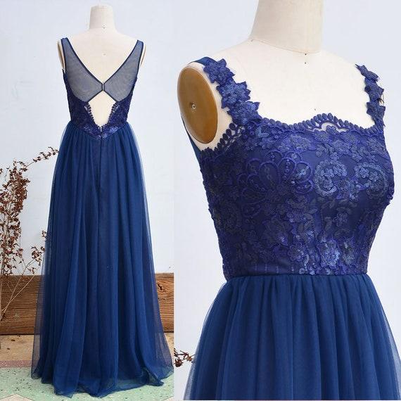 Navy Blue Bridesmaid Dress Sequins Tulle Prom Dress Long Wedding Party  Dress Custom Plus Size Wedding Dress A Line Party Dress