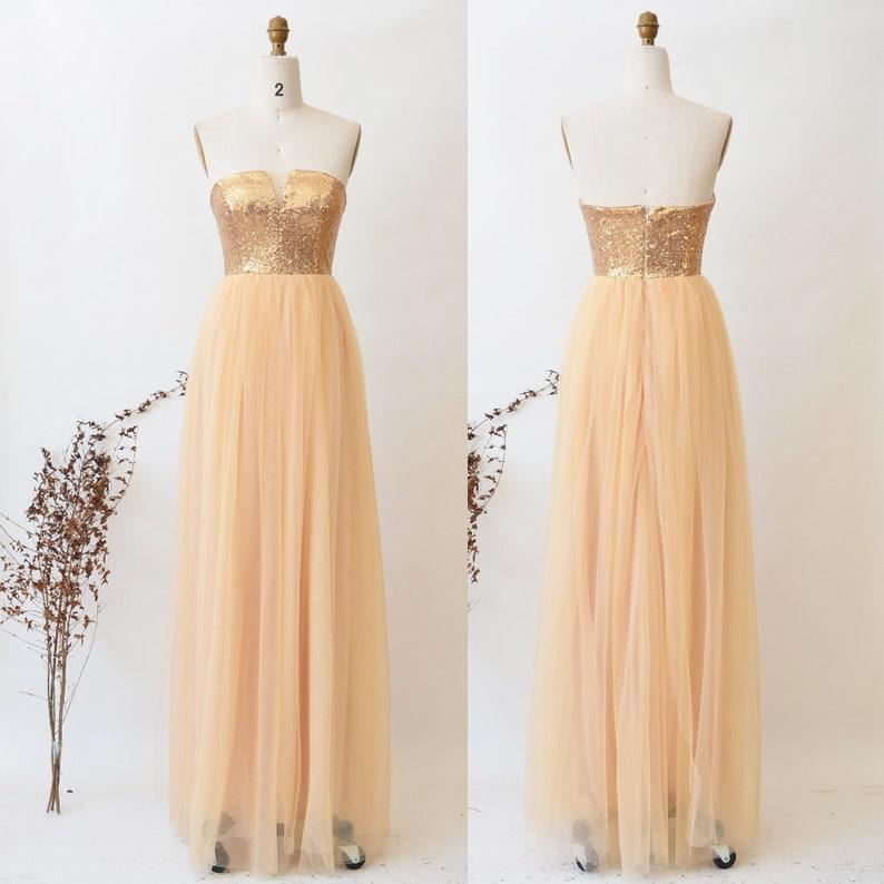 Gold Sequin Bridesmaid Dress Long Convertible Dress Infinity Dress Wedding Party Maxi Dress ETSY Floor Length Tulle Dress