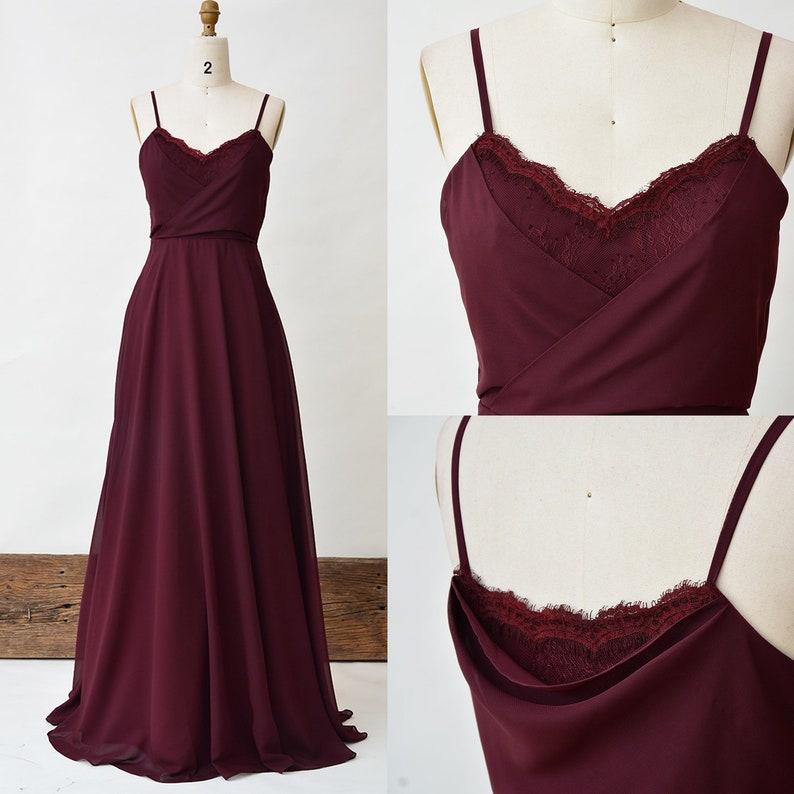 79b2651a80e Burgundy Bridesmaid Dress Lace Long Prom Dress Spaghetti