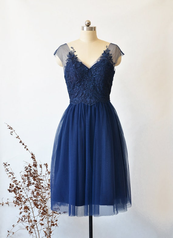 Short Bridesmaid Dress, Plus Size Short Prom Dress, Custom Navy Blue  Wedding Party Dress Lace With Soft Tull Women Maxi Dress Formal Dress