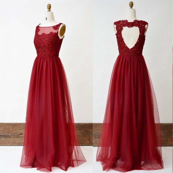 Wine Red Bridesmaid Dress Plus Size Long Lace Prom Dress Sweetheart Hole  Back Tulle Women Party Dress Junior Floor Length Dress