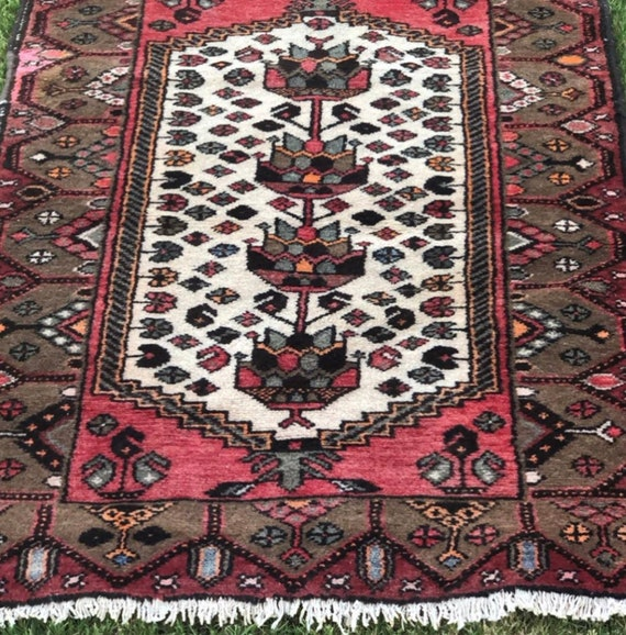 Turner - 3x4 Vintage Hand-Knotted Persian Wool Rug