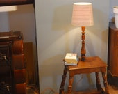 Floor lamp with bedside table, old bedside table with lamp, lamp with shelf, oak 50s night table,