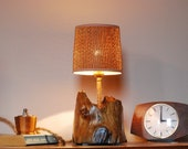 Table lamp made of pine wood, large brown bedside lamp made of burnt wood, wooden table lamp