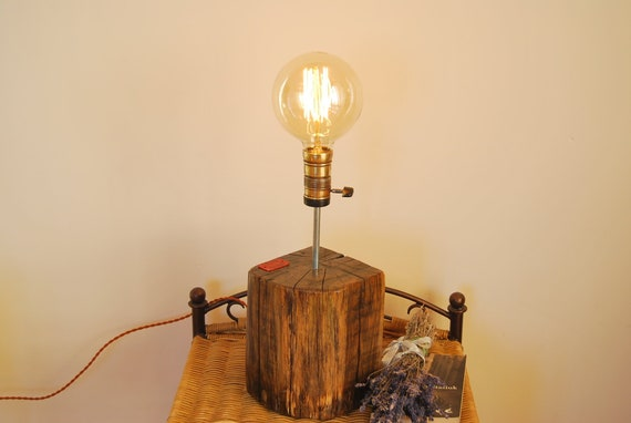 Oak table lamp, old wooden night lamp, old wood lamp, 1930 lampholder, Edison wood lamp