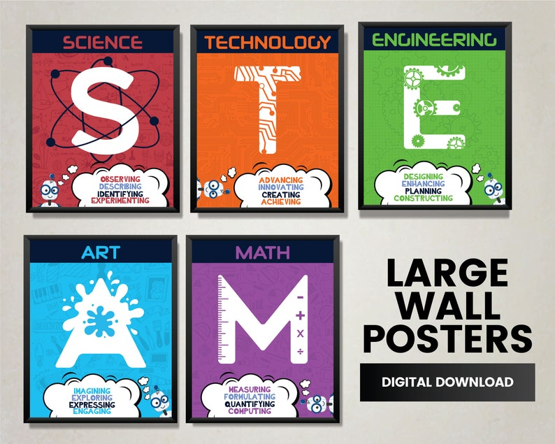 STEAM & STEM Posters for Science Technology Engineering image 0