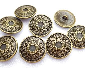 Metall  Knopf Knöpfe 10 stück gold Wappen    15,5 mm   #314#